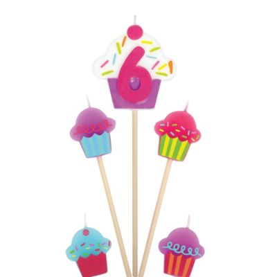 Number 6 & Cupcake Candle Picks 5ct