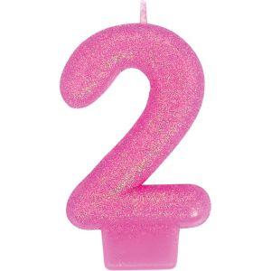 Glitter Bright Pink Number 2 Candle