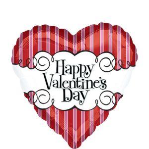 Valentine's Day Balloon - Striped Heart