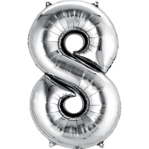 Giant Silver Number 8 Balloon
