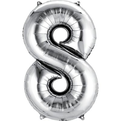 Number 8 Balloon - Silver