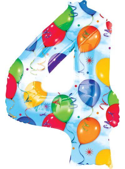 Number 4 Balloon - Celebration