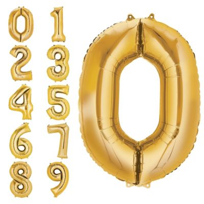 Number 0 Balloon - Gold
