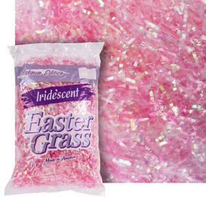 Iridescent Pink Plastic Easter Grass