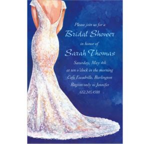 Custom Bride in Gown Dark Bridal Shower Invitations