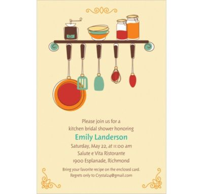 Custom Kitchen Shower Bridal Shower Invitations