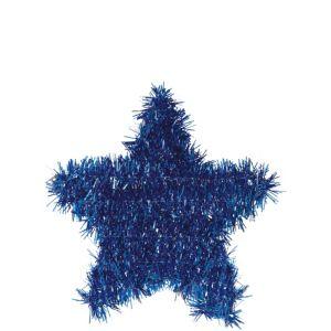 Tinsel Blue Star Decoration