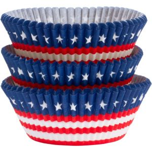Patriotic American Flag Baking Cups 75ct