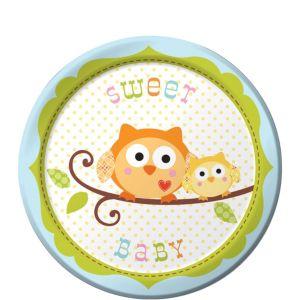 Blue Owl Baby Shower Dessert Plates 8ct