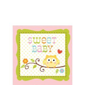 Pink Owl Baby Shower Beverage Napkins 16ct