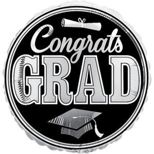 Silver Graduation Balloon - Giant Congrats Grad