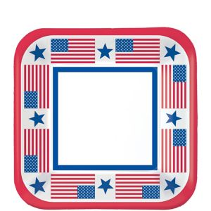 Stars & Stripes Patriotic Dessert Plates 40ct