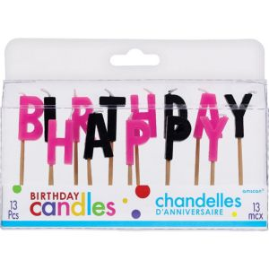 Black & Pink Happy Birthday Toothpick Candle Set 13pc