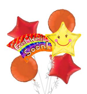 Get Well Soon Balloon Bouquet 5pc
