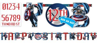Captain America Birthday Banner 10ft