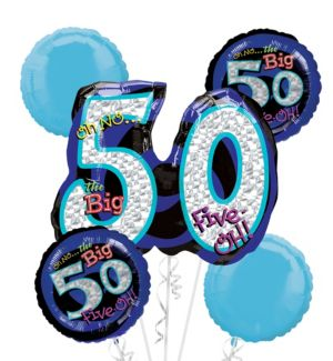 50th Birthday Balloon Bouquet 5pc - Blue Oh No!