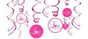 Bright Pink Wedding Swirl Decorations 12ct