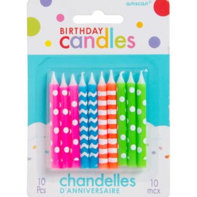 Neon Birthday Candles 10ct