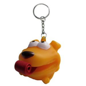 Tongue Pop Squeeze Dog Keychain