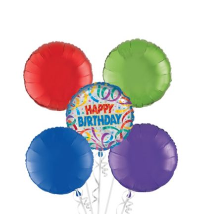 Happy Birthday Balloon Bouquet 5pc - Party Streamers