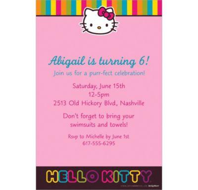 Neon Hello Kitty Custom Invitation