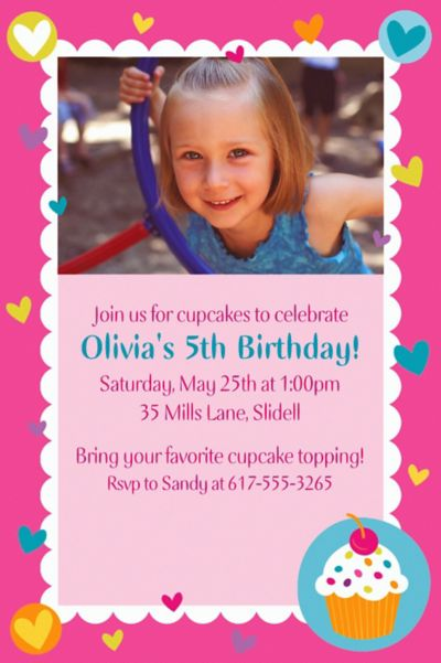 Custom Cupcake Party Photo Invitations