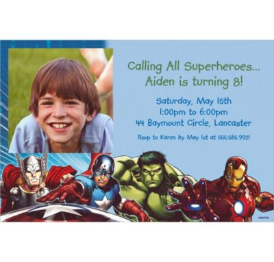 Custom Avengers Photo Invitations
