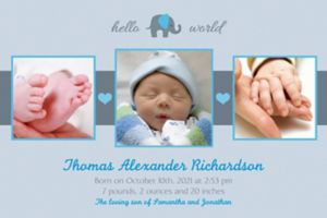 Custom Hello World Boy Photo Announcement
