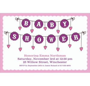 Custom Baby Clothesline Girl Invitations