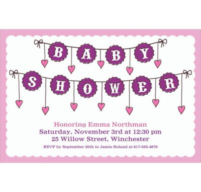 Baby Clothesline Girl Custom Invitation