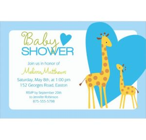 Custom Sweet Giraffes and Heart Boy Invitations