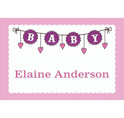 Baby Clothesline Girl Custom Thank You Note