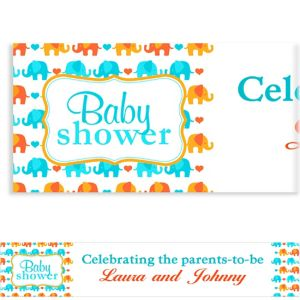 Custom Baby Elephant Pattern Boy Baby Shower Banner 6ft