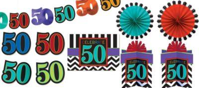 Celebrate 50th Birthday Room Decorating Kit 10pc