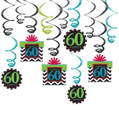Celebrate 60th Birthday Swirl Decorations 12ct