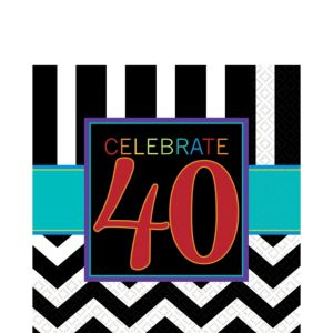 Celebrate 40th Birthday Lunch Napkins 16ct