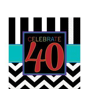 Celebrate 40th Birthday Lunch Napkins 16ct