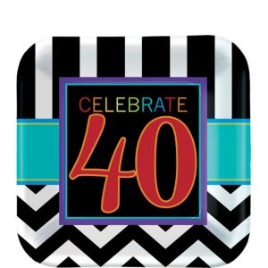 Celebrate 40th Birthday Dessert Plates 8ct