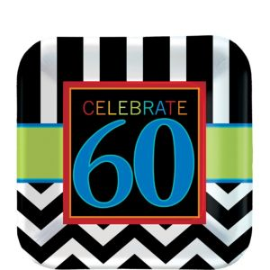 Celebrate 60th Birthday Dessert Plates 8ct