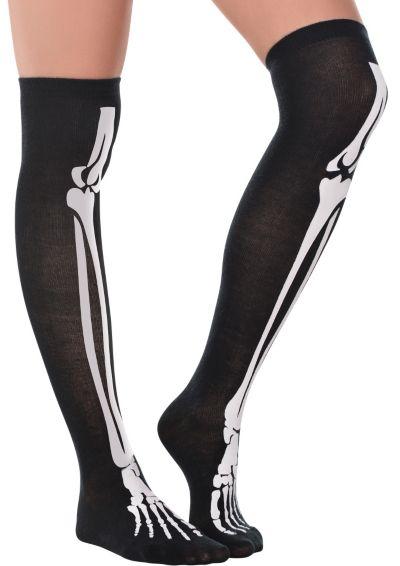 Skeleton Bones Over-the-Knee Socks