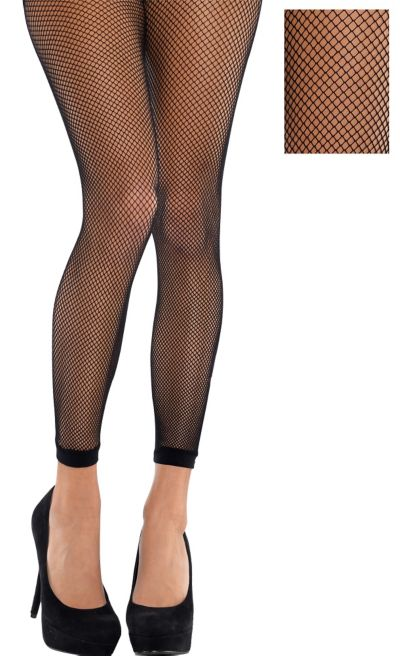 Adult Black Fishnet Footless Pantyhose
