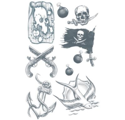 Buccaneer Pirate Tattoos 1 Sheet