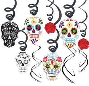 Sugar Skull Day of the Dead Swirl Decorations 30ct