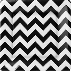 Black Chevron Square Dinner Plates 18ct