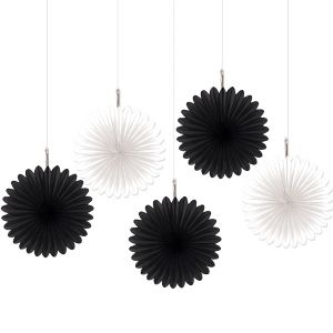 Black & White Mini Fan Decorations 5ct