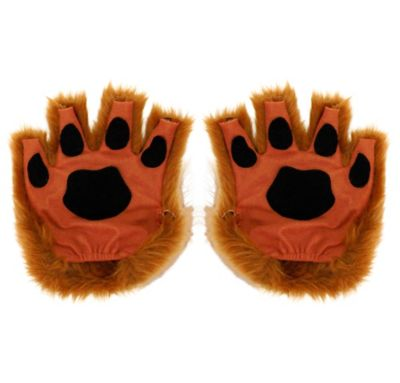 Brown Paw Fingerless Gloves