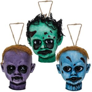 Hanging Zombie Doll Heads 3ct