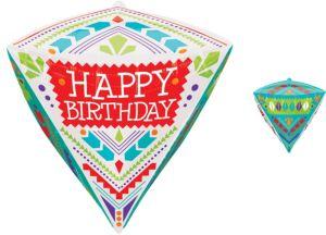 Diamondz Folk Print Happy Birthday Balloon 17in