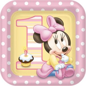 1st Birthday Minnie Mouse Lunch Plates 8ct