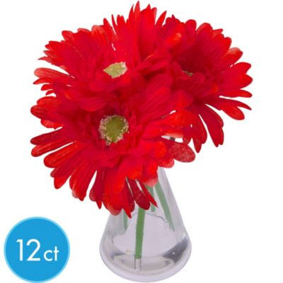 Red Gerbera Daisies in Vases 12ct